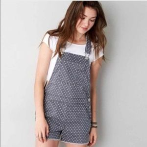 American Eagle Gray Polka Dot Shortalls Size XS